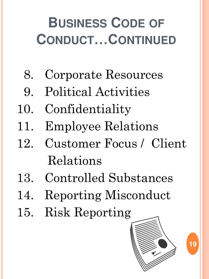 Business Code of Conduct…Continued