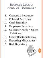 business code of conduct continued