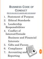 business code of conduct note bolded underlined revisions