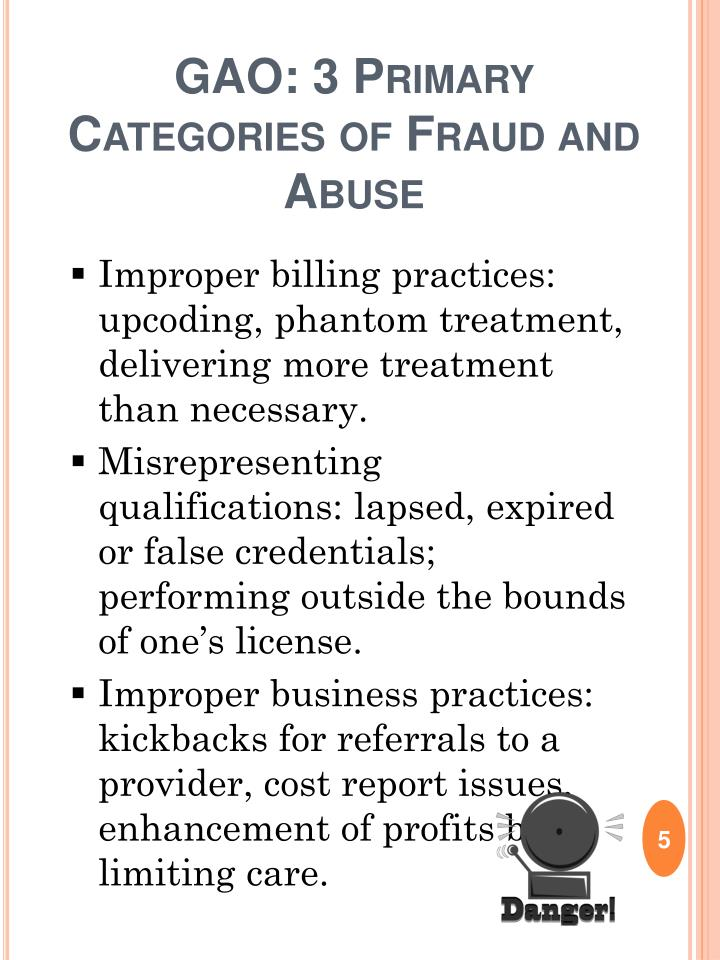 GAO: 3 Primary Categories of Fraud and Abuse