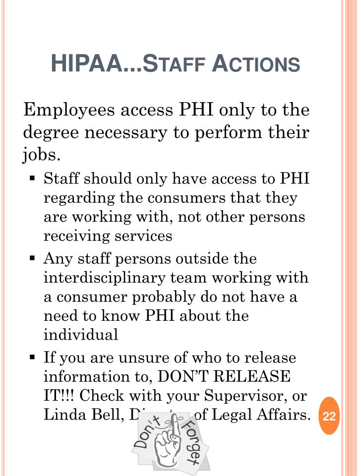 HIPAA...Staff Actions