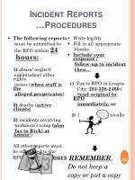 incident reports procedures