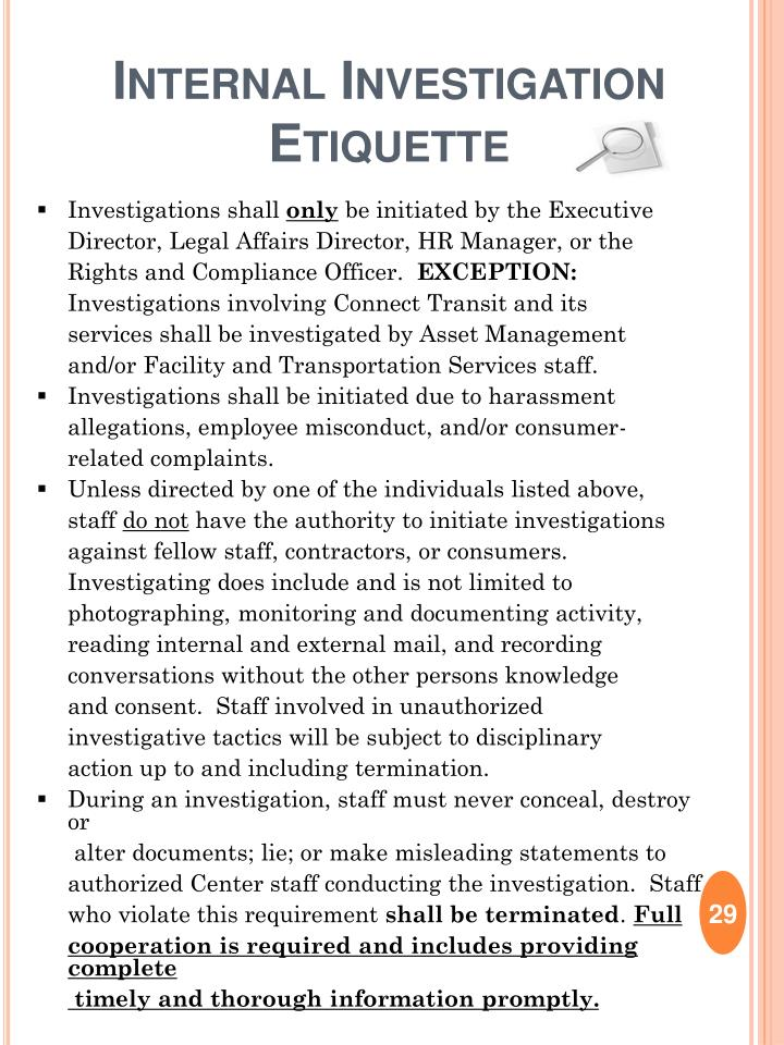 Internal Investigation Etiquette