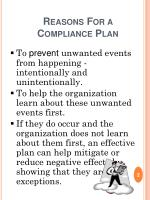 reasons for a compliance plan