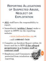reporting allegations of suspected abuse neglect or exploitation