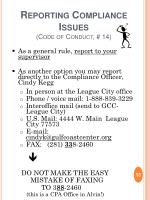 reporting compliance issues code of conduct 14