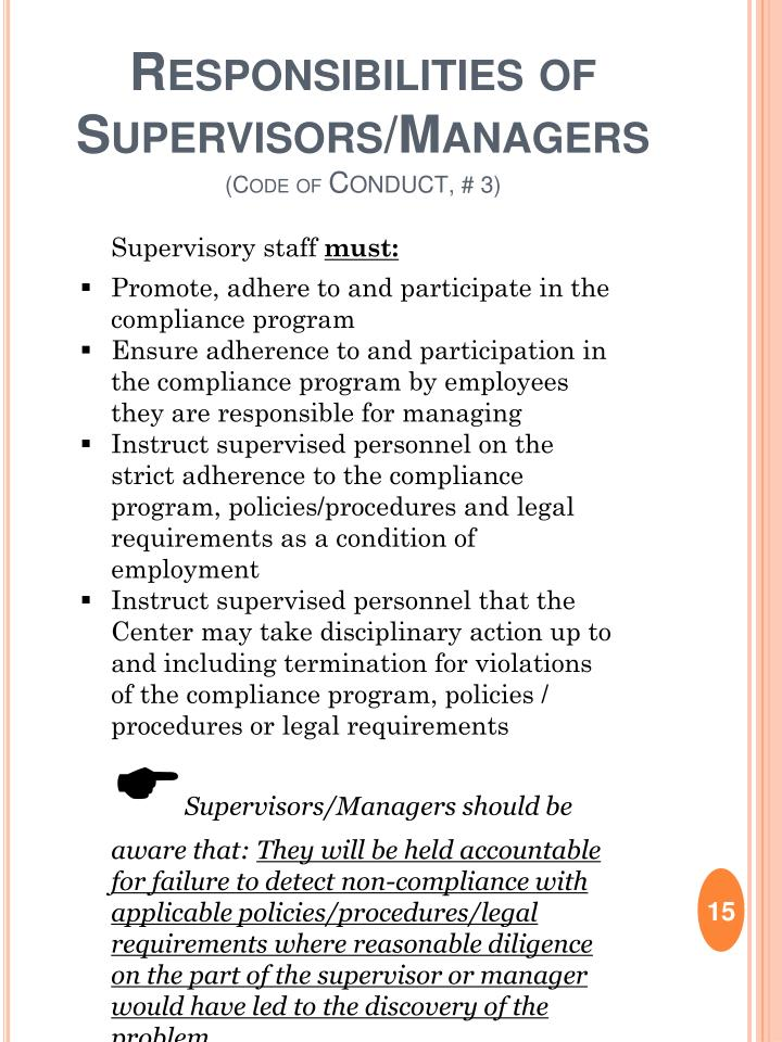 Responsibilities of  Supervisors/Managers