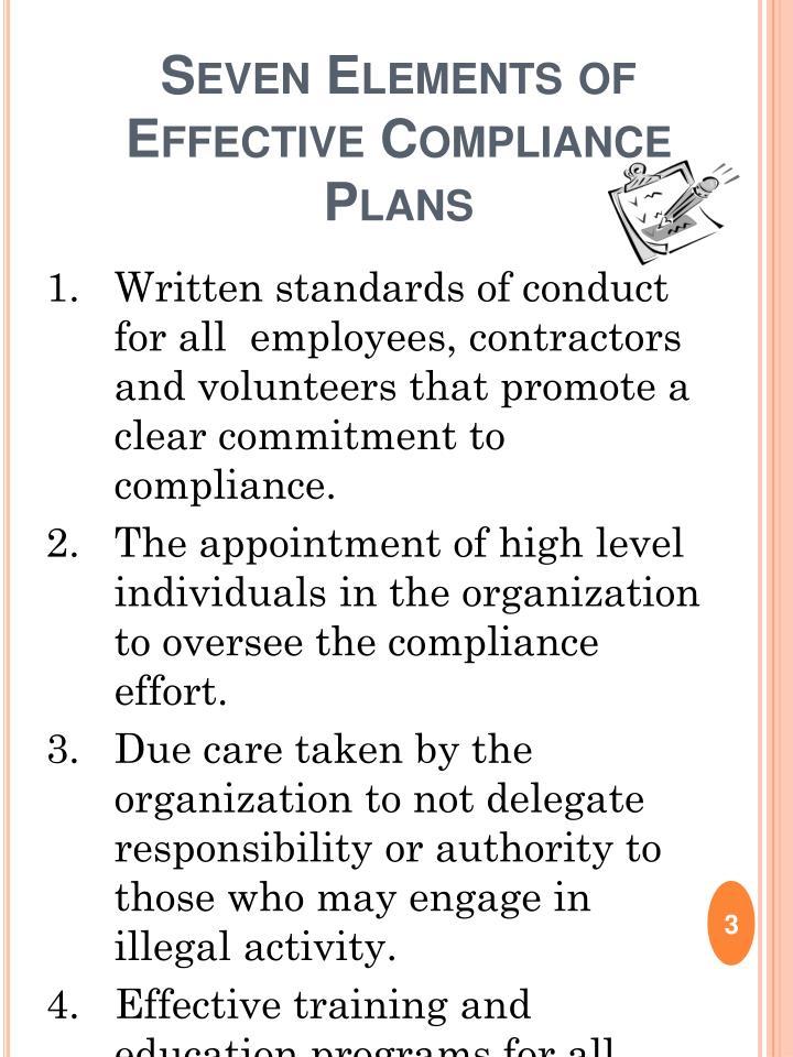 Seven Elements of Effective Compliance Plans
