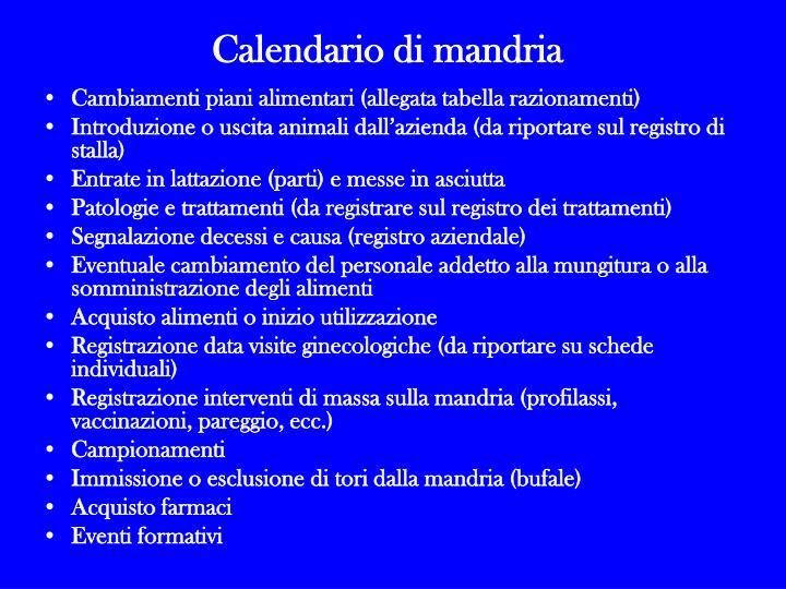 Calendario di mandria