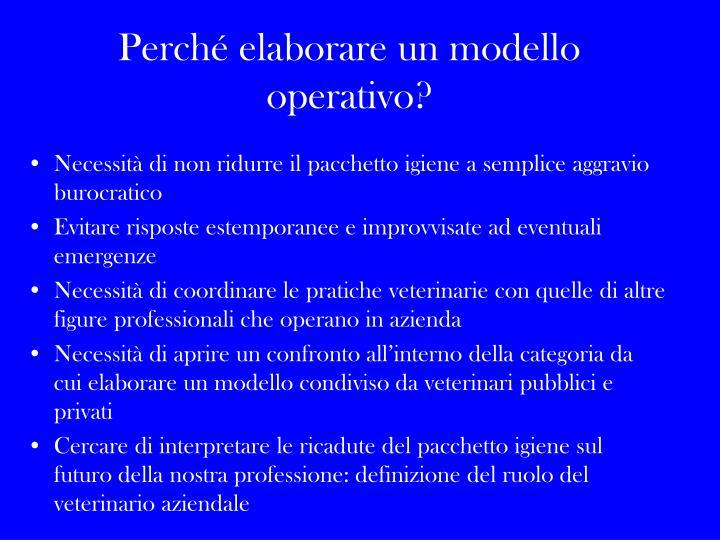 Perché elaborare un modello operativo?