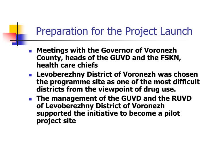 Preparation for the Project Launch
