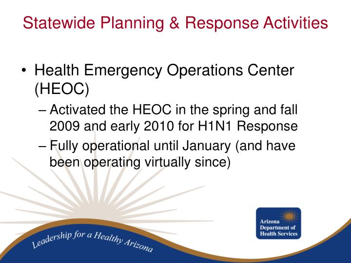 Statewide Planning & Response Activities
