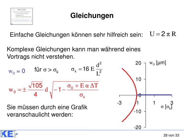 Komplexe Gleichungen kann man während eines Vortrags nicht verstehen.