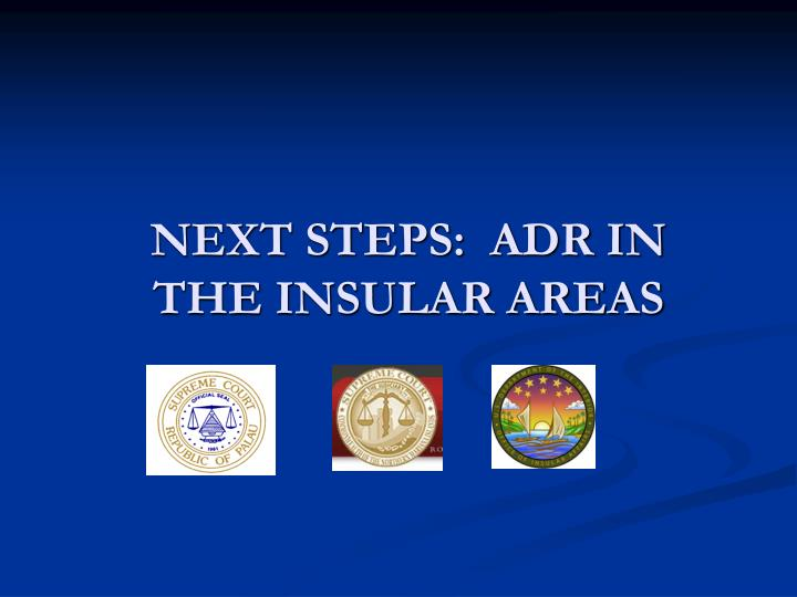 Next steps adr in the insular areas