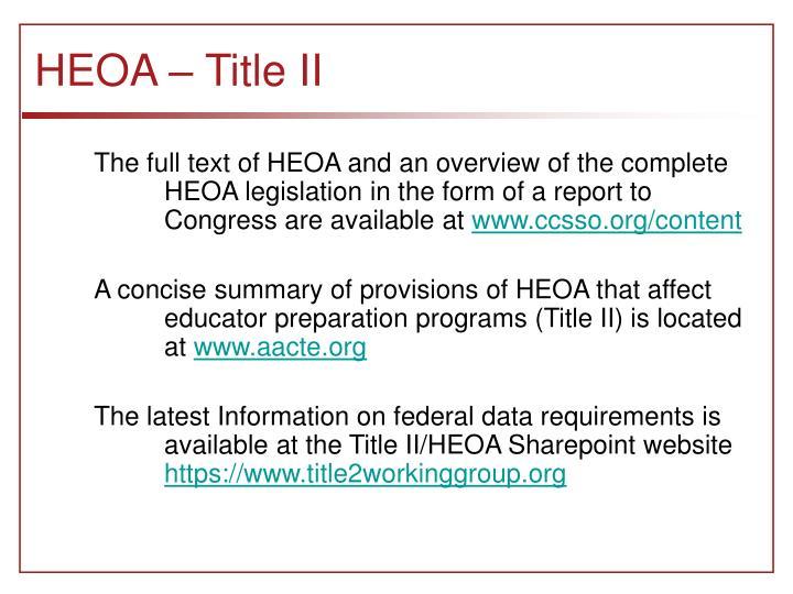 HEOA – Title II