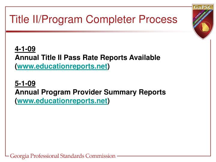 Title II/Program Completer Process