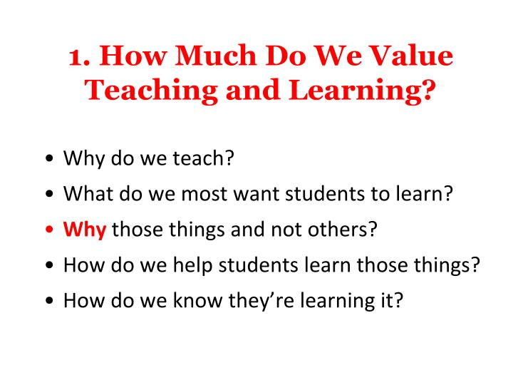 1. How Much Do We Value Teaching and Learning?