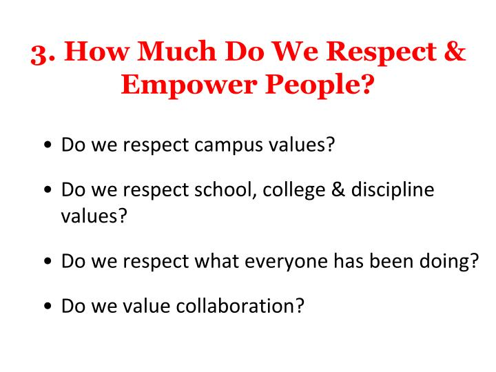 3. How Much Do We Respect & Empower People?