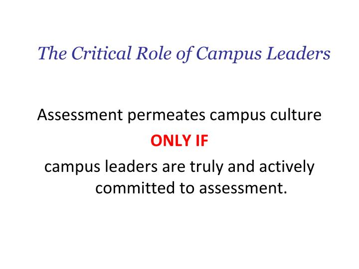 The Critical Role of Campus Leaders