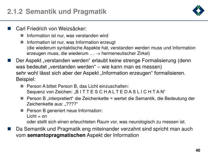 2.1.2Semantik und Pragmatik