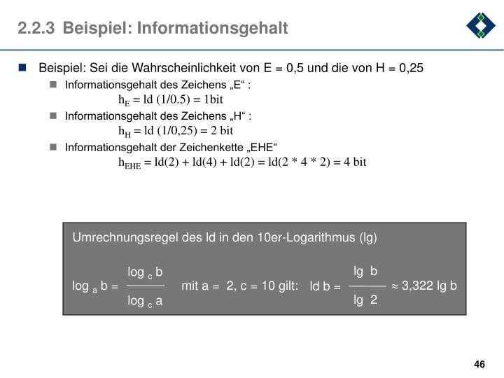Umrechnungsregel des ld in den 10er-Logarithmus (lg)