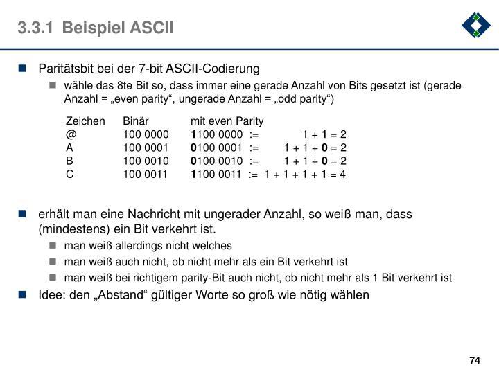 Paritätsbit bei der 7-bit ASCII-Codierung