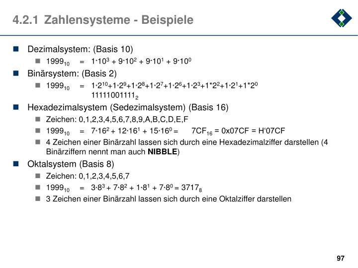 4.2.1Zahlensysteme - Beispiele