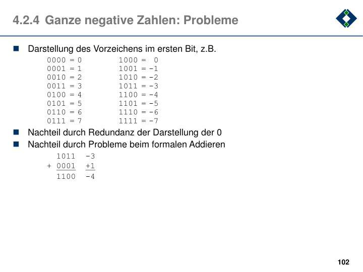 4.2.4Ganze negative Zahlen: Probleme