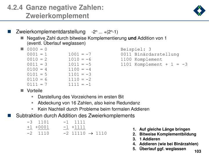 4.2.4Ganze negative Zahlen: Zweierkomplement