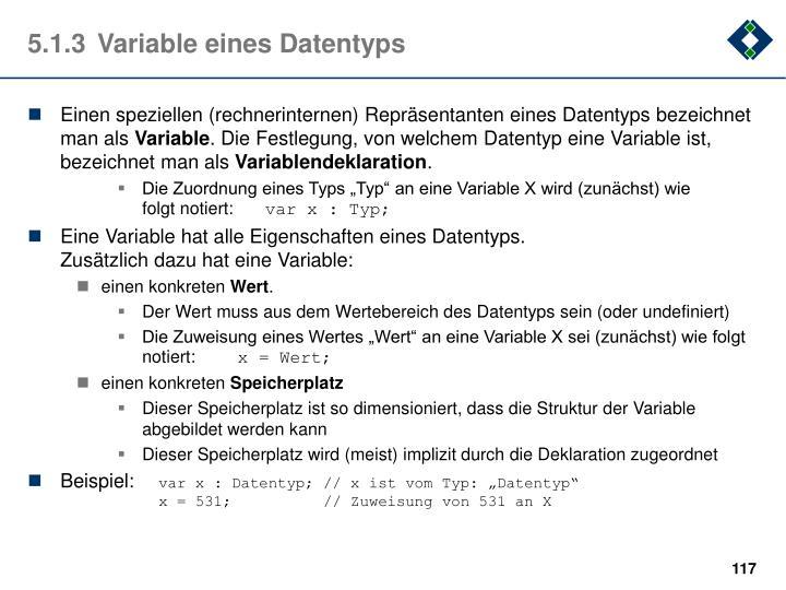 5.1.3Variable eines Datentyps