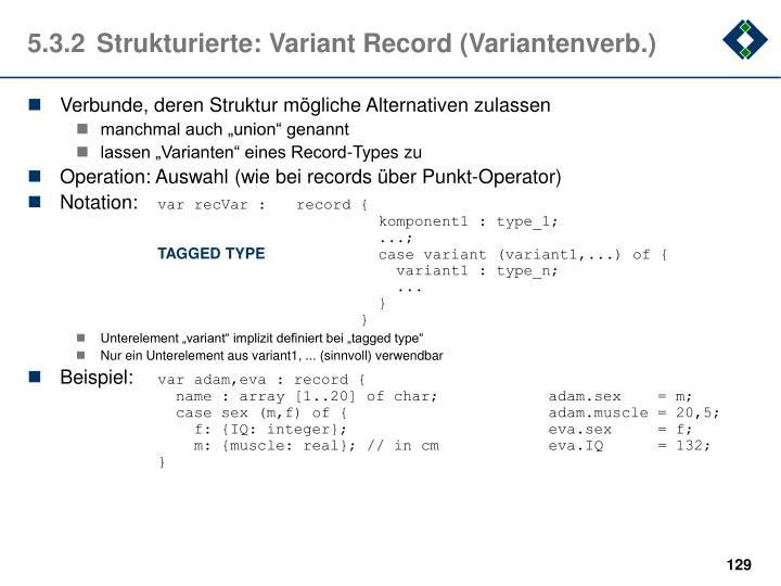 5.3.2Strukturierte: Variant Record (Variantenverb.)