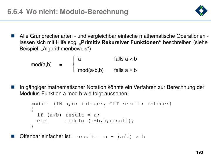 6.6.4Wo nicht: Modulo-Berechnung