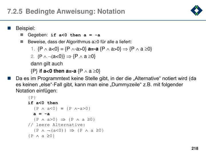 7.2.5Bedingte Anweisung: Notation
