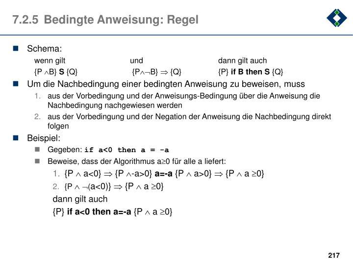 7.2.5Bedingte Anweisung: Regel
