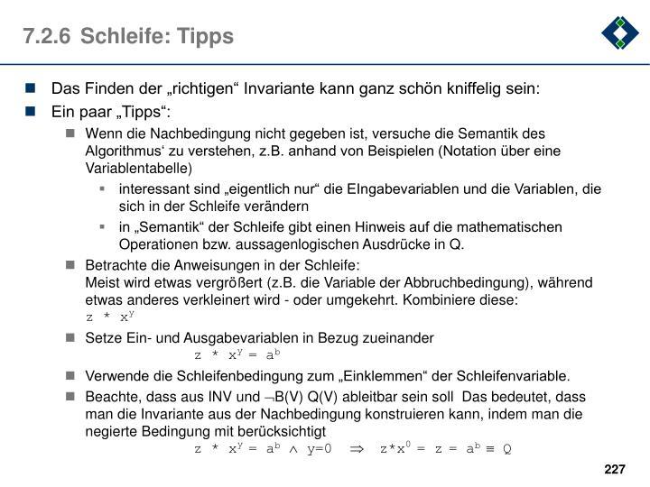 7.2.6Schleife: Tipps