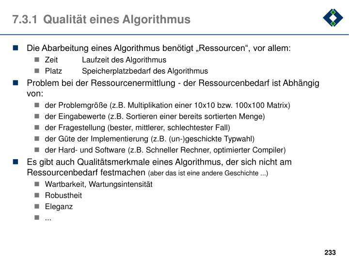 7.3.1Qualität eines Algorithmus
