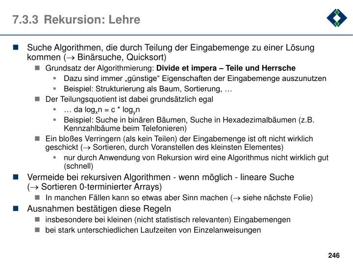 7.3.3Rekursion: Lehre