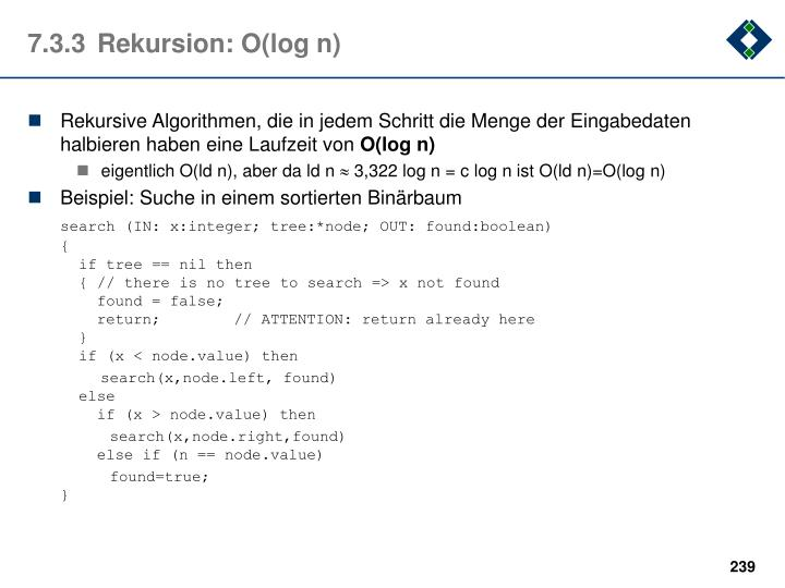 7.3.3Rekursion: O(log n)