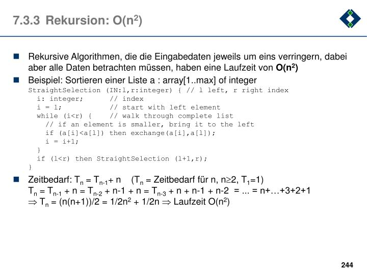 7.3.3Rekursion: O(n