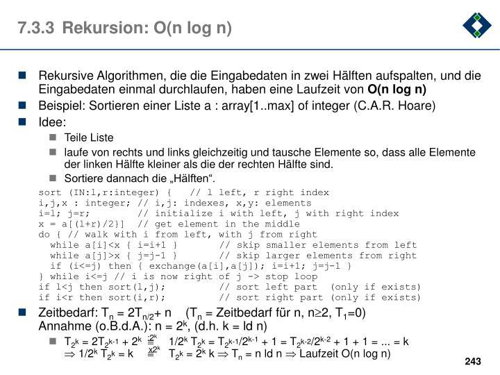 7.3.3Rekursion: O(n log n)