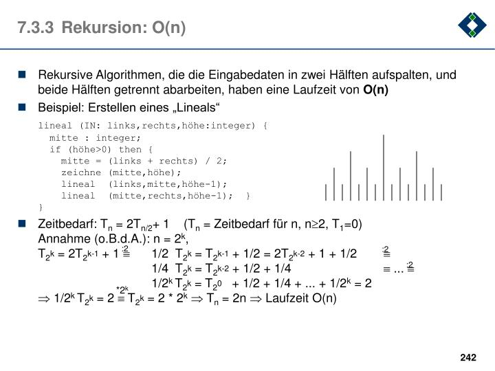 7.3.3Rekursion: O(n)