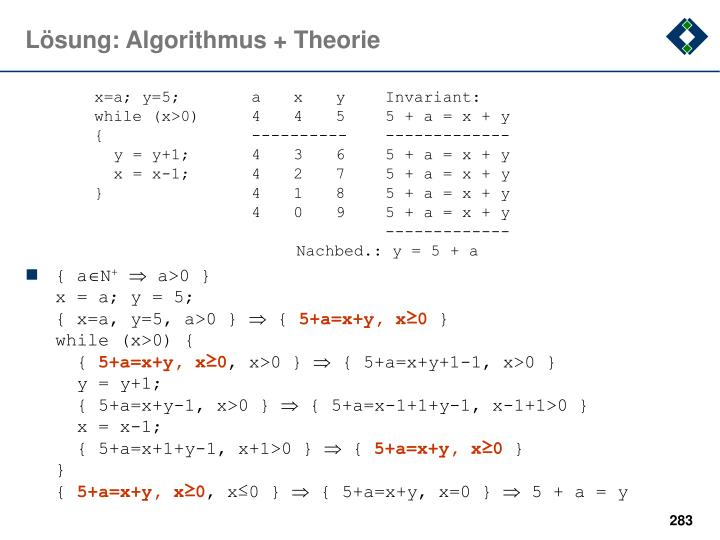 Lösung: Algorithmus + Theorie