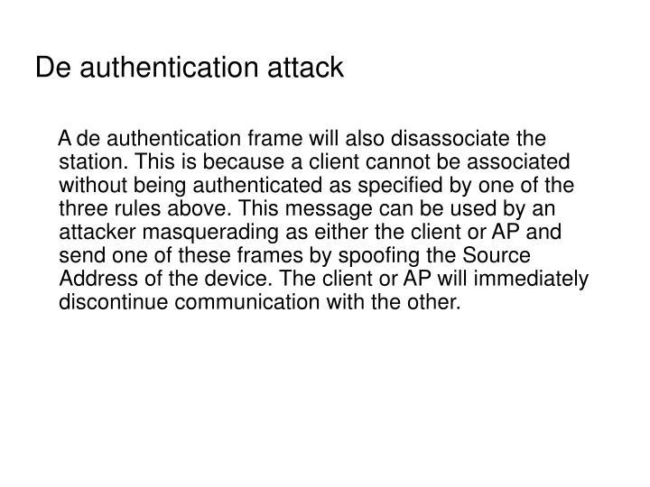 De authentication attack