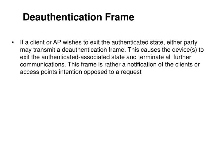 Deauthentication Frame