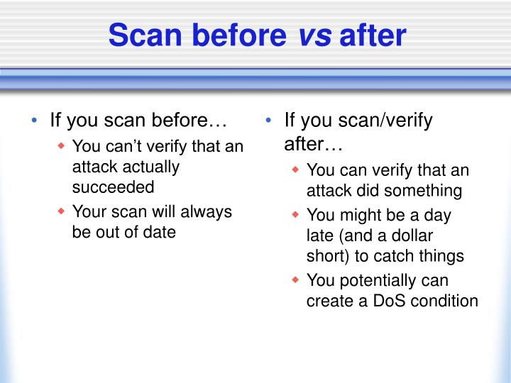 If you scan before…
