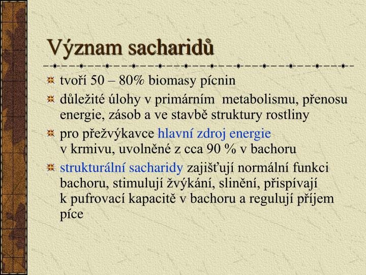 Význam sacharidů