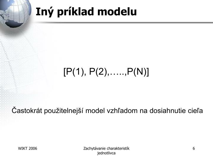 Iný príklad modelu