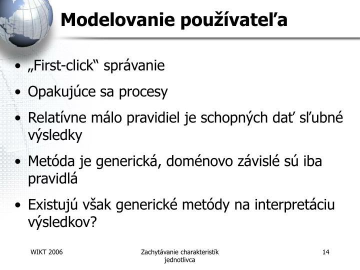 Modelovanie používateľa