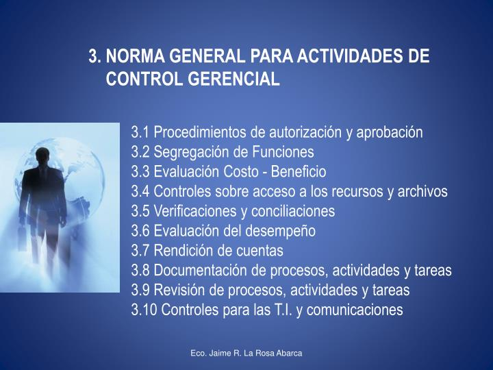 3. NORMA GENERAL PARA ACTIVIDADES DE