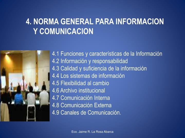 4. NORMA GENERAL PARA INFORMACION